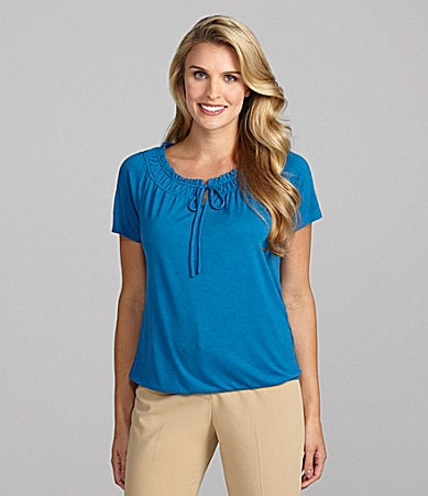 Peter Nygard Petites Shirred Neck Popover Top
