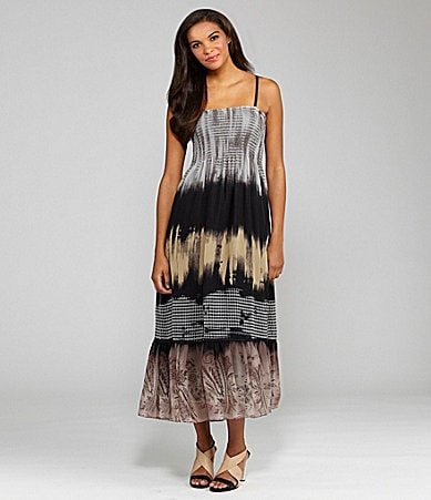 Peter Nygard Petites Printed Smocked Maxi Dress