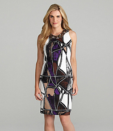 Peter Nygard Printed Embellished Dress
