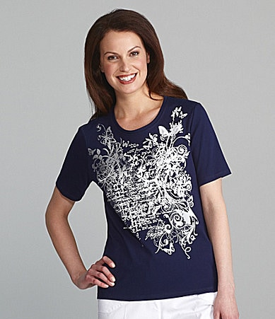 Allison Daley Petites Butterfly & Script Printed Knit Top