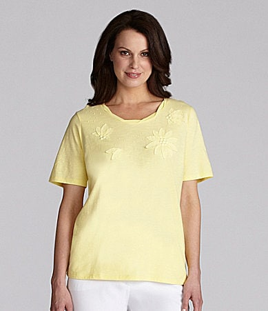 TanJay Petites Twist-Neck Applique Top