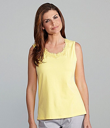 TanJay Woman Knit Lace-Trim Tank