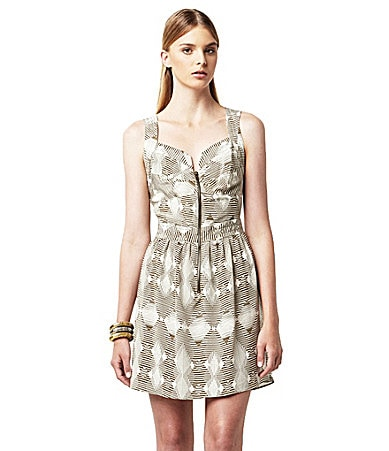 Greylin Zip-Front Tribal-Print Dress