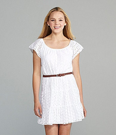 Sequin Hearts Belted Eyelet Dress