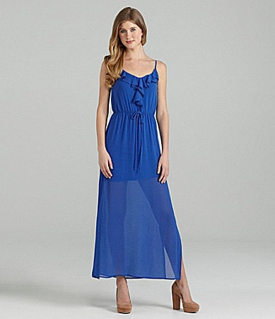 B. Darlin Ruffle-Neck Maxi Dress