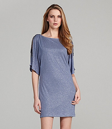 Cachet Cold-Shoulder Dolman Sleeve Dress