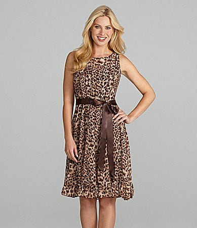 Jessica Howard Woman Animal-Print Ribbon Belted Dress