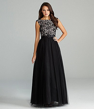 Aidan Mattox Lace and Mesh Gown
