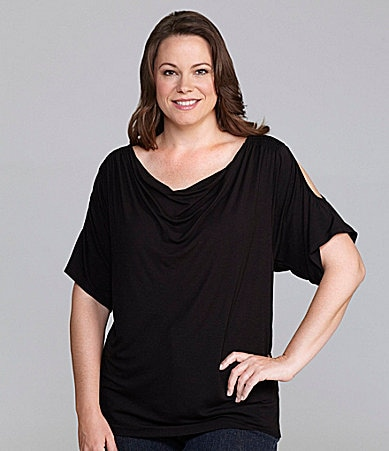 Sunny Taylor Woman Draped Cold-Shoulder Top