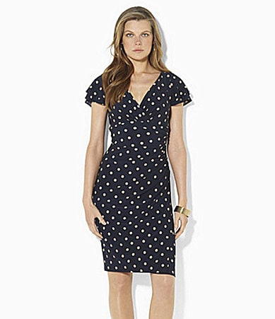 Lauren Ralph Lauren Polka-Dot Empire Jersey Dress