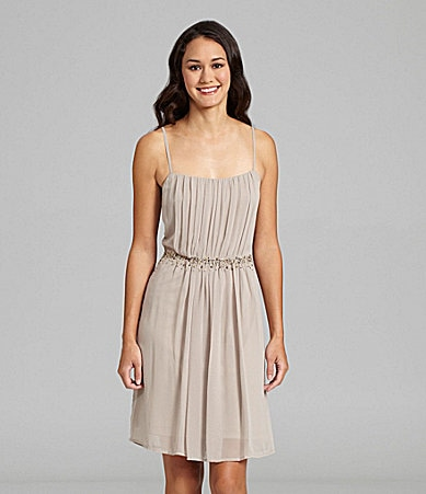Calvin Klein Chiffon Spaghetti Strap Cocktail Dress