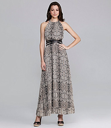 Jessica Simpson Snakeprint Halter Maxidress