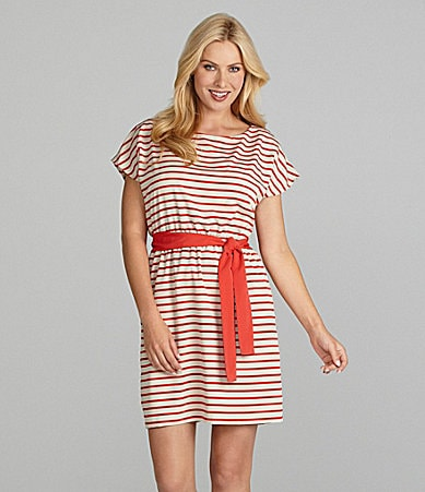 Jessica Howard Woman Self-Tie Striped Dress