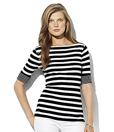 Lauren Ralph Lauren Benny Cuffed Boatneck Striped Tee