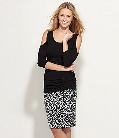 Karen Kane Cold-Shoulder Top & Animal-Print Skirt