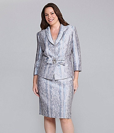 Tahari by ASL Woman Snake-Print 2-Piece Skirted Suit