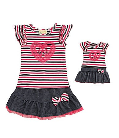 Sweet Heart Rose for Dollie & Me 3T-8 Striped Top & Denim Scooter