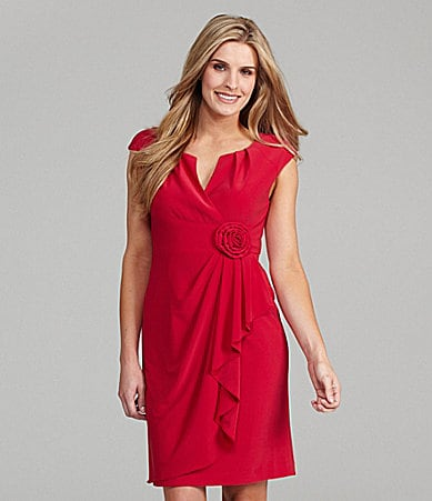 Adrianna Papell Cap-Sleeve Draped Ruffle Dress