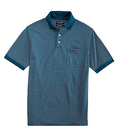 Roundtree & Yorke Mercerized Stripe Polo Shirt