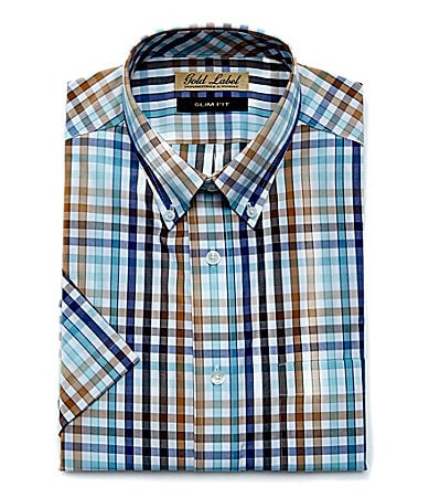 Roundtree & Yorke Gold Label Slim-Fit Plaid Sportshirt