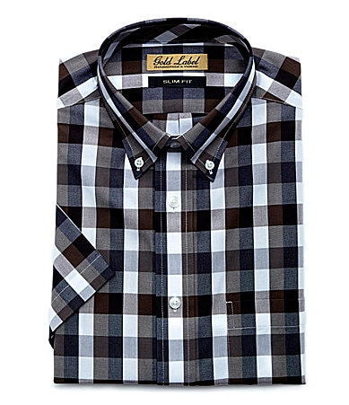 Roundtree & Yorke Gold Label Slim-Fit Buffalo Plaid Sportshirt