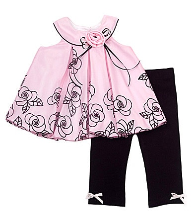 Rare Editions Infant Floral-Print Legging Set