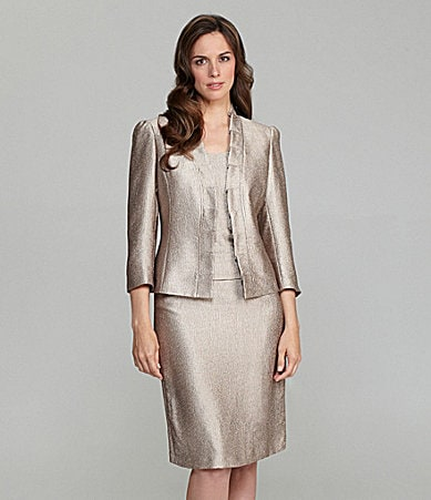 Kasper Metallic Satin 3-Piece Skirted Suit