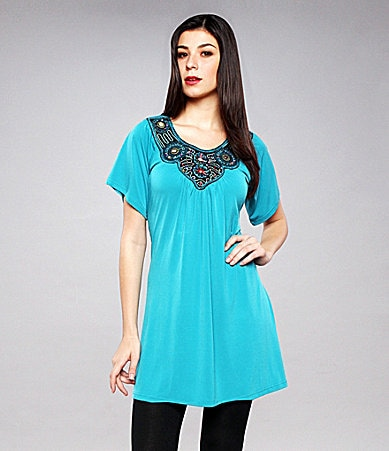Calessa Short-Sleeve Embellished Tunic