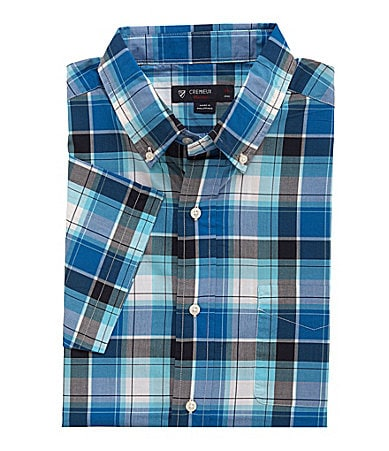 Cremieux Short-Sleeve Plaid Poplin Sportshirt