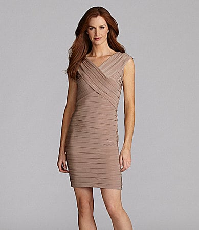 London Times Shutter-Pleat Jersey Dress
