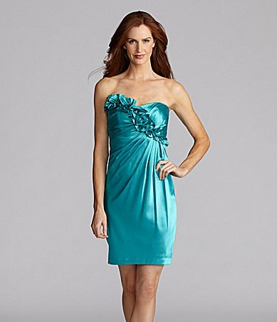 London Times Strapless Ruffle Satin Dress