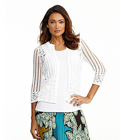 Investments Open-Front Crochet Cardigan