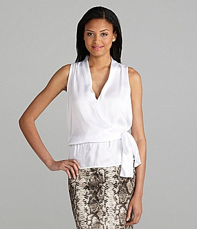 MICHAEL Michael Kors Satin Faux-Wrap Bodice Top