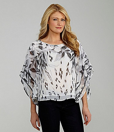 Investments Petites Printed Kimono-Sleeve Blouse