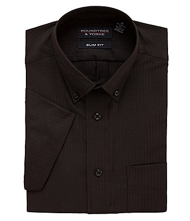 Roundtree & Yorke Slim Fit Easy Care Solid Herringbone Sportshirt