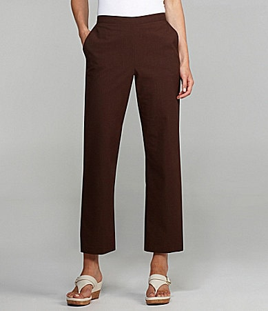 Samantha Grey Solid Elastic-Waist Pants