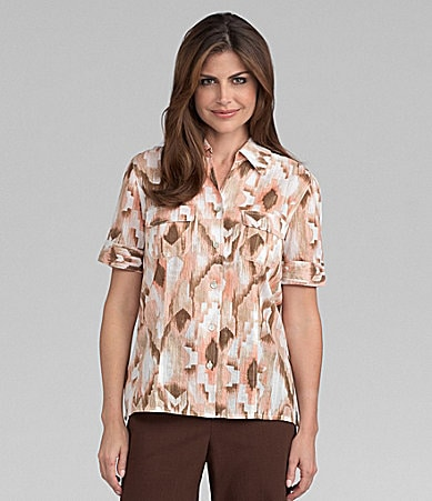 Samantha Grey Ikat-Print Blouse