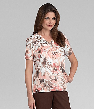 Samantha Grey Watercolor Floral Knit Top