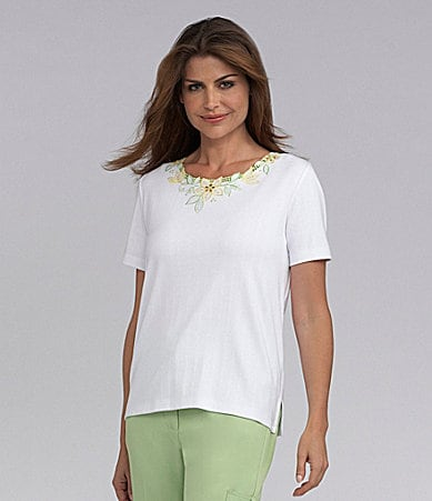 Samantha Grey Floral Cut-Out Knit Top