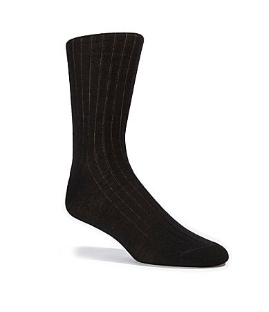 Cremieux Wool Blend Flat Knit Crew Dress Socks