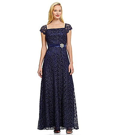 JS Collections Lace Off-the-Shoulder Gown