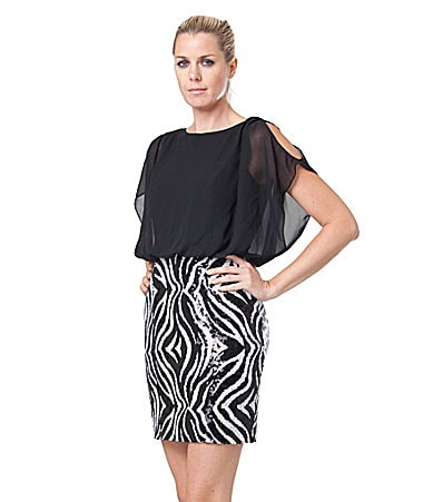 JS Collections Zebra-Print Sequin Combo Dress
