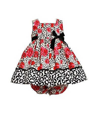 Bonnie Baby Infant Leopard/Rose Printed Dress