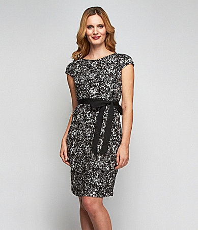 Alex Evenings Petites Sequin-Lace Belted Dress