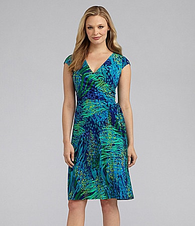 Evan Picone Animal-Print Matte Jersey Dress