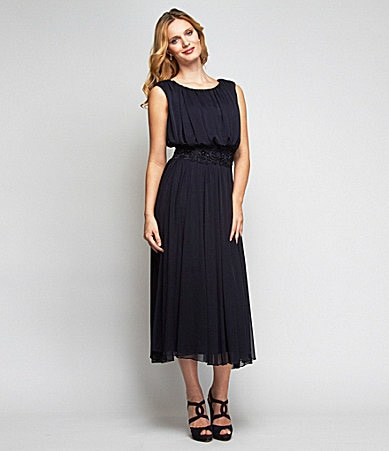 Alex Evenings Pleated Mesh Mid-Calf Dress