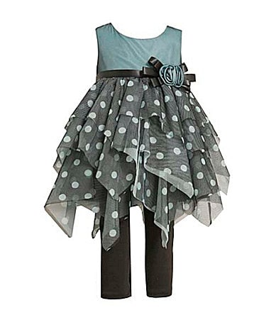 Bonnie Baby Infant Dot Print Hanky Hem Dress with Leggings