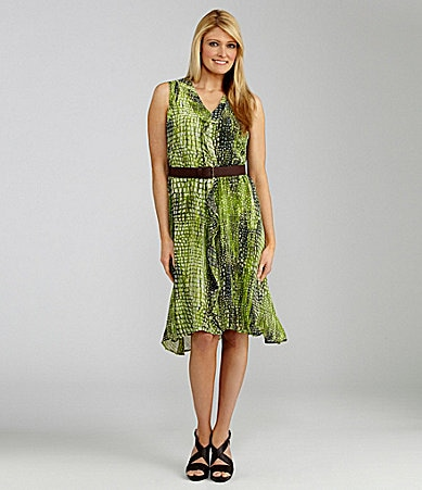 Jones New York Collection Woman Belted Snake-Print Dress
