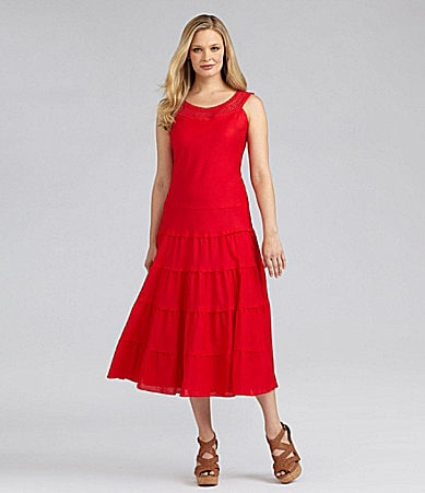 Jessica Howard Woman Crochet Mid-Calf Dress