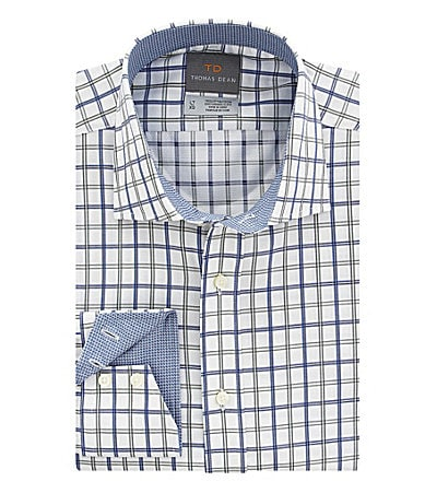 Thomas Dean Big & Tall Windowpane Plaid Sportshirt